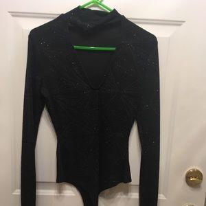 Black long sleeve bodysuit sparkle